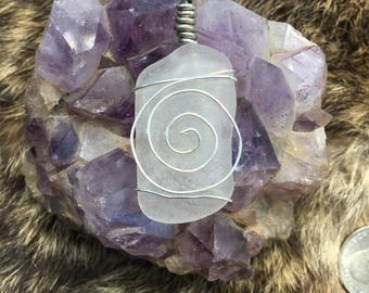 White seaglass with silver spiral