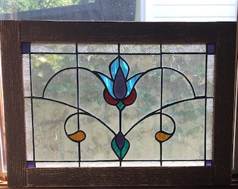 Vintage style Victorian stained glass window panel wood framed rectangular 18 x 12 3/4 aqua clear gold