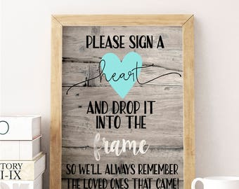 Sign a heart and drop it into the frame sign; wedding; bridal shower; guestbook sign