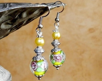 Earrings baroque silver and yellow