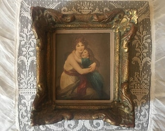 Vintage original Baroque print and frame.