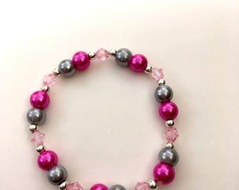 Pink/Silver Glass Pearl Beaded Bracelet