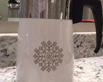 Vintage Coffee Pot ~ White with avocado medallion pattern
