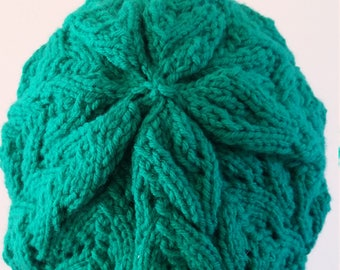 Green Knit Slouchy Hat