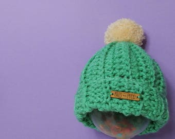 Kids | MINT | Crocheted Unisex Bobble Hat | With Cream Pom Pom