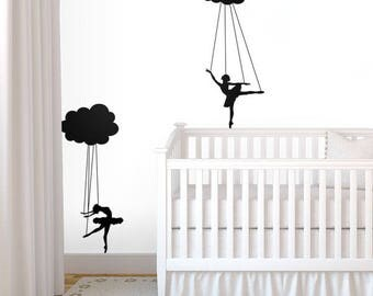 Cloud Puppet Ballerinas Decal - Decals for Home Decor, Dancer Marionette Doll, Nursery Nurseries Kids Rooms Youngs Children Child