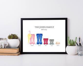 Wellington Boot Print | Wellington Printable | New Home Prints | Wall Art | Home Decor | Wall Decor | Family Printable  | Welly Print