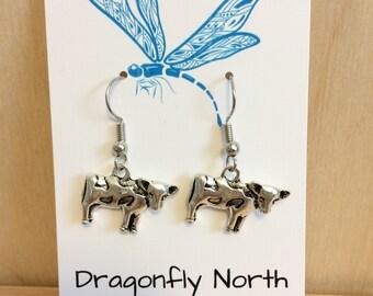Cow earrings - farm animal earrings - country girl earrings - farm girl earrings - gift for her
