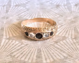 Garnet and Moonstone Antique Ornate Ring