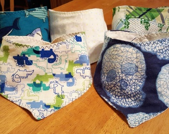 Pick Your Own Set of 2, 3, or 5 Bandanna/Drool Bibs