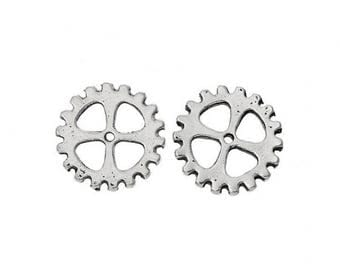 set of 10 charms connectors COGS / gears steampunk metal silver 15 x 15 mm