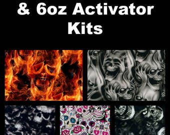 Hydrographic Dip kit with 6oz activator and 1 Linear Meter of Hydrographic Film Skull Prints