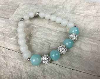 Turquoise Blue Agate Bracelet with Pave Crystal Beads, Silver Plated Spacer Beads and Frosted White Glass Beads