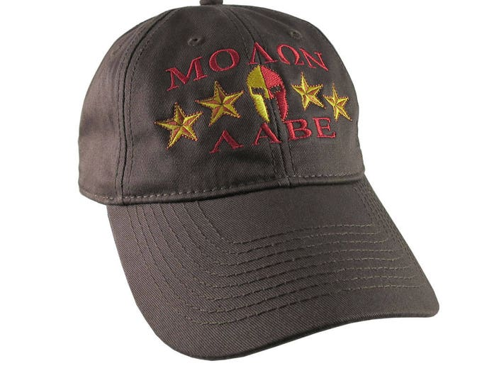 Molon Labe Spartan Warrior Mask with Stars Golden and Red Embroidery on an Adjustable Chocolate Brown Unstructured Baseball Cap Dad Hat