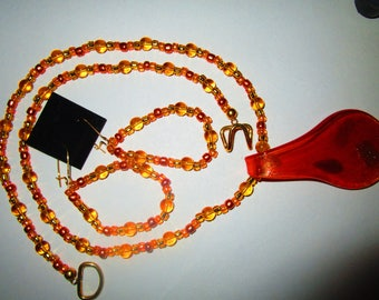 Orange and Gold Glass beaded pendant necklace with matching earrings