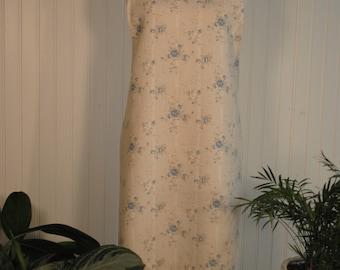 Elegant Pinafore - Blue Floral & Antique White