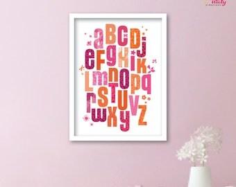 Deco alphabet ABC POSTER pink orange baby's room