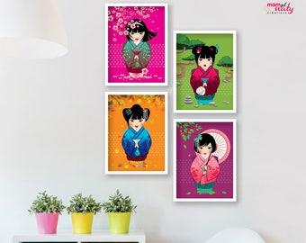 SET 4 posters colorful kawaii KOKESHI
