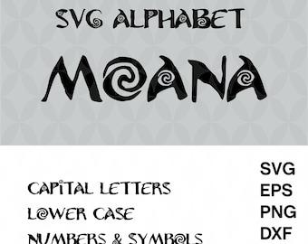 Moana alphabet svg, Svg alphabet, Cricut font svg, Moana Font movie svg, Cut files, Font svg, Instant Download, Disney font svg, Eps,Dxf,Png