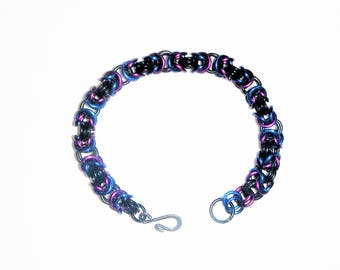 Beautiful Purple Blue And Black Byzantine Weave Chain Maille Bracelet