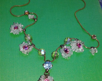 """Laly Cohen Unique Exquisite 9"""" Necklace Copper Swarovski Crystal Hand Crafted"""