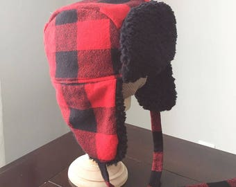Trapper Hat / Lumberjack Hat / Ear Flap Hat / Buffalo Plaid Hat / Red Plaid Hat / Baby Trapper Hat / Kids Trapper Hat / Red Hat / Baby Gift