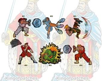 Street Fighter 2 Embroidered Big Patches Videogame Ryu Ken Blanka Guile Chun Li M. Bison Hadouken Flash Kick Hyakuretsukyaku Electricity