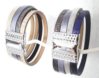 Multicolor magnetic closure Cuff Bracelet