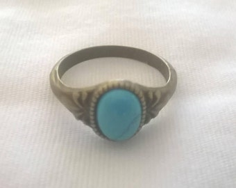 Handmade size 6 Bronze ring with genuine Turquoise stone (8x6mm)