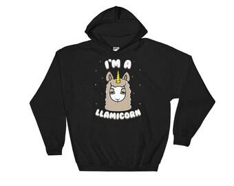 Llama Hoodie - Llamicorn Hoodie - Llama Sweatshirt - Unicorn Hoodie - Unicorn Sweater - Llama Gifts - Unicorn Lovers Gift