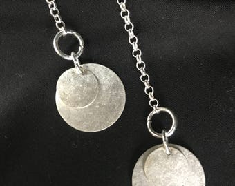 handmade sustainable silver chain tie necklace with metal circles