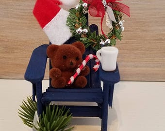 Miniature Adirondack Chair Christmas Ornament, Blue Adirondack Chair, Teddy Bear Christmas Ornament