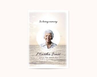 Memorial Funeral Program Template for Word - Memorial Word Printable Design - Flower Obituary - Editable in Microsoft Word - Funeral Card