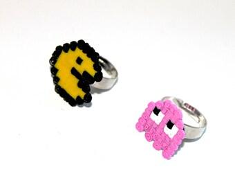 PacMan & ghost beads rings