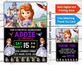 Princesa Sofía el primer cumpleaños para imprimir invitación Plus gratis gracias Card-Both Digital e impresión realizado