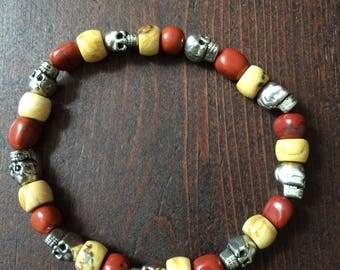 Very Cool Bracelet - Stainless Steel Skulls, Red Jasper, & Picture Jasper