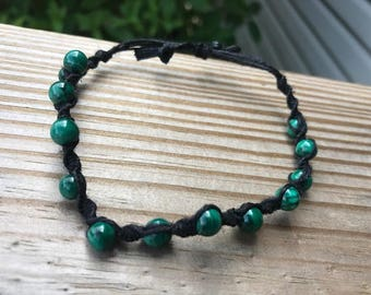 malachite black hemp bracelet