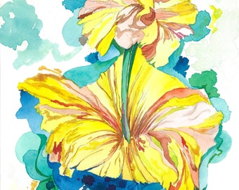 Flowers | Yellow, Watercolor, Blue, Green, Nature, Watercolor Painting, Wall Art, Decor, Original, Floral