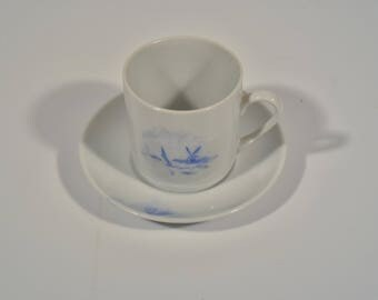 Vintage Demitasse Cup, Hand Painted Espresso Cup, Blue and White Small Cup, Porcelain Cup and Saucer, White Demitasse Cup and Saucer