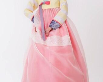 Hanbok. Luxury Korean Traditional Costume. See Through Layer Skirt. Custom made KSS-035