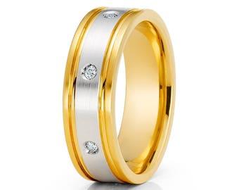 Whit Diamond Wedding Band Yellow Gold Ring 14k Gold Wedding Band Men & Women Band