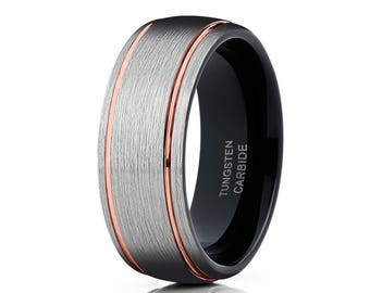 Rose Gold Tungsten Wedding Band Silver Brush Tungsten Wedding Band Engagement Ring Black Wedding Band Men & Women