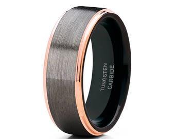 Gunmetal Tungsten Wedding Band Rose Gold Tungsten Men & Women Black Tungsten Ring Anniversary Band Comfort Fit