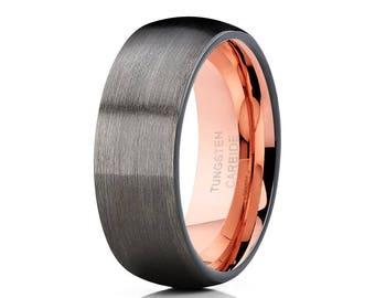 Gunmetal Tungsten Wedding Band Rose Gold Tungsten Ring Men & Women Grey Tungsten Wedding Band Anniversary Ring Brush