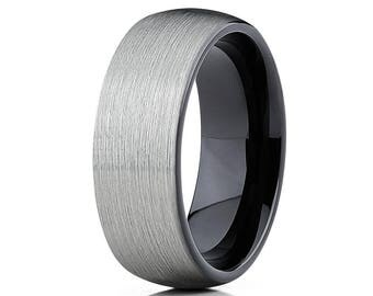 Gray  Tungsten Wedding Band Men & Women Black Tungsten Wedding Ring Anniversary Ring Tungsten Carbide Ring Brush