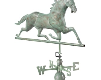 Horse Weathervane with Roof Mount - Blue Verde Copper