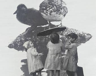 children and duck collage