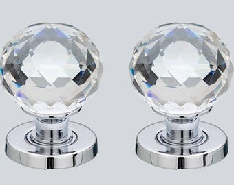 crystal cut glass door knob set polished chrome base pair