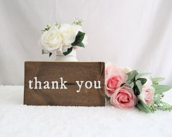 Wedding Thank You Sign. Wedding Photo Prop. Rustic Wooden Wedding Sign. Thank You Card Prop. Wedding Gift Table Sign. Wood Wedding Signs.