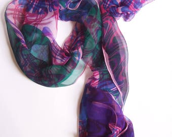 Wavy Screen printed chiffon scarf multicoloured pink green purple blue abstract pattern one off art scarf